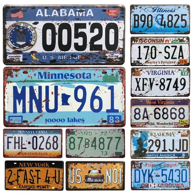2021 HOT Etats-Unis Licence de voiture Plaque métallique Numéro de voiture Tin Signes Bar Pub Cafe Décor Signe métal Garage peinture Plaque Sticker Carfts