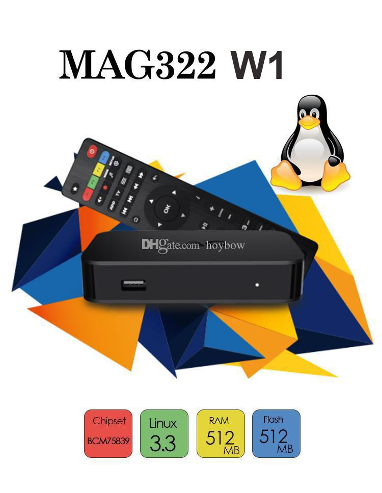 MAG322 W1 Latest Linux 3.3 OS Set Top Box MAG 322 with Built-In WiFi WLAN HEVC H.265 TV Box Smart TV Media Player