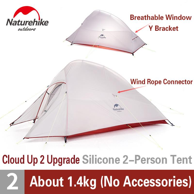 Naturehike upgraded Cloud Up 2 Tenda da campeggio 2 Persona 20D / 210T Tenda da viaggio Ultralight Tenda doppio strato Escursioni escursionistiche Z1123