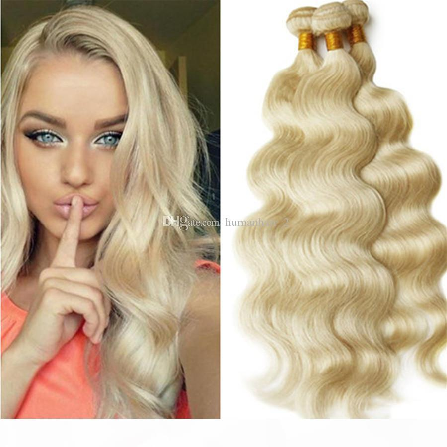 Cheveux blonds tisse populaire # 613 blanchiment vague de corps extensions de cheveux 3pcs lot péruvien indien indien malaisien brésilien vague cheveux cheveux
