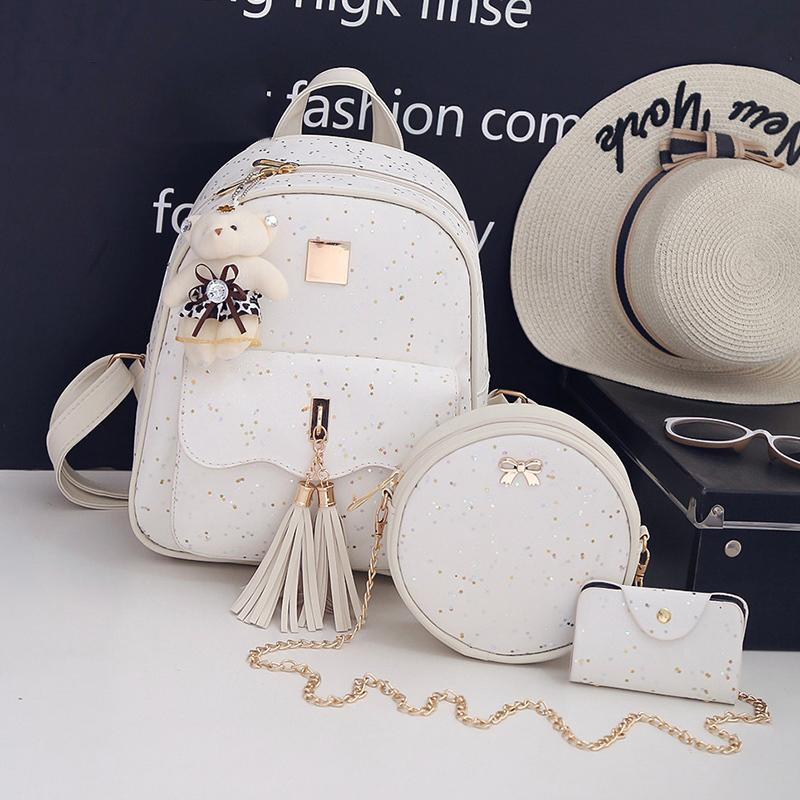 3Set/Pcs New Design Tassel Women Backpack Star Sequins PU Leather Backpacks For Teenage Girls School Bag Chain Shoulder Bag A1113