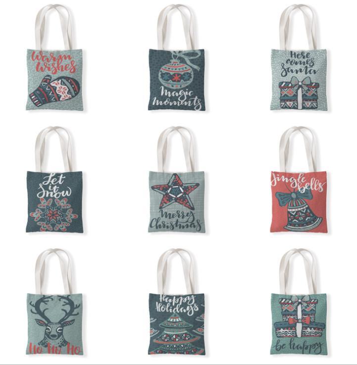 La dernière taille 33x37cm, sac cadeau de Noël, arbre de Noël et styles de motif elk, sac à bandoulière, sac à main, sac à provisions, livraison gratuite