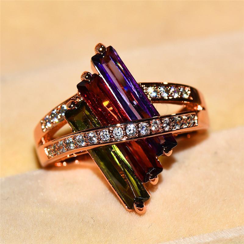 Boho femelle violet rouge olive vert bague verdure mignon rose or cristal arc-en-ciel zircon pierre sonnerie promesse bagues de fiançailles pour femmes