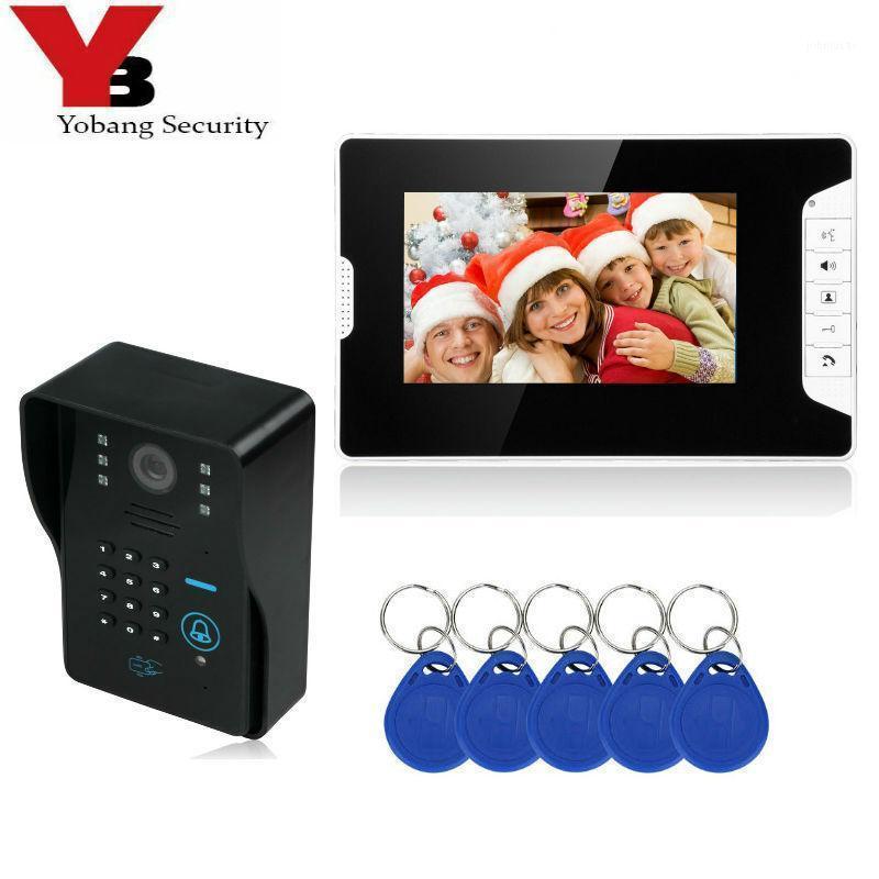 Yobang Security 7 '' HD Camera Camera Vídeo Intercomunicador de Porta Sistema de Segurança Câmera de Segurança Intercomunicador de Porta Rifd com Monitor1