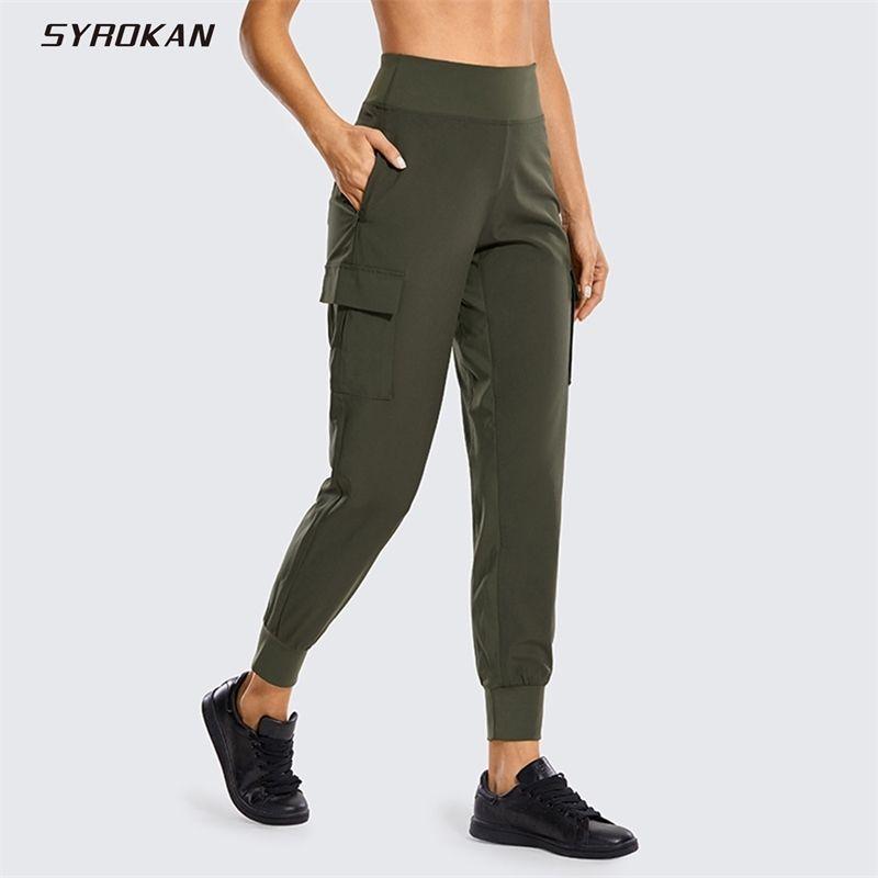 Joggers Syrokan Femme Sece Sec Joggers avec poches à hautes pantalons de cargaison de cargaison de cargaison de cargaison (INSTAM: 27.5 pouces) Y200904