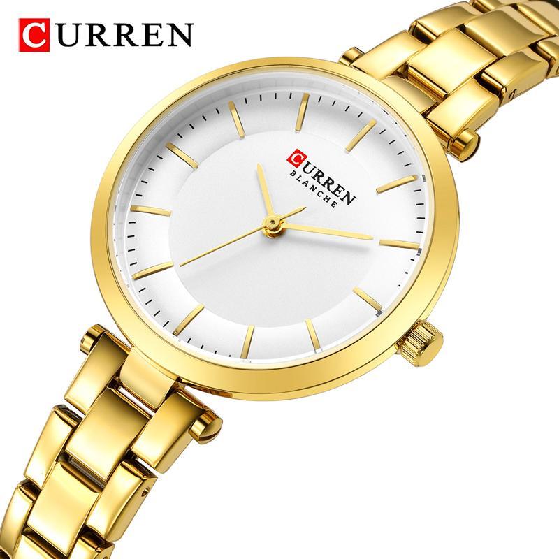 Curren Women Relógios Rose Gold Quartz Pulseira relógio para senhoras Top Marca Luxo Mulheres Relógio de Pulso Relógio Relogio Feminino J1205