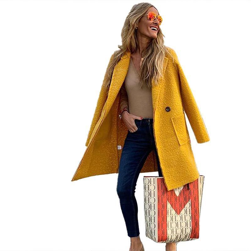 Fannic 2021 Abrigo de lana de invierno Color sólido de mujer color sólido de manga larga suelta Botón de un solo botón largo