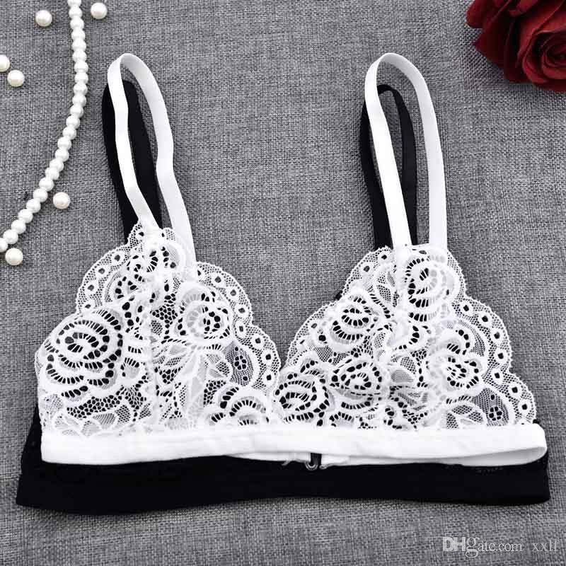 Heiße mädchen spitze bh bra sexy stickerei floral durch bh bh frauen unterwäsche weiß schwarz bralette drahtlos nahtlos