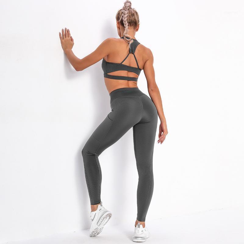 Yoga Outfits 2pcs Seamless Women Set High Waist Leggings Pants With Pocket Bra Running Tracksuit Female Gymwear Fitness Sportswear1
