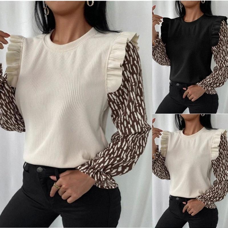 Frauen Herbst stilvolle Bluse Floral Print Patchwork Langarm Rundhalsausschnitt Schulter Rüschen Casual Wild Shirt für tägliche Kleidung # HC84