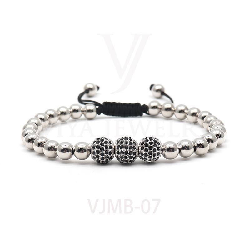 Neue High-End-Luxus-Armband, 8mm Pave-Einstellung Black Cz-Perlen 6mm Runde Perlen, Flecht-Perlen-Armband für Herrenuhr
