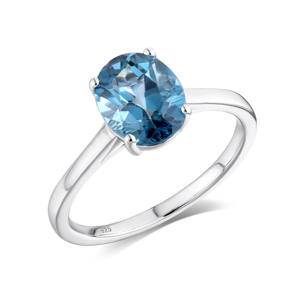 GZ ZONGFA Fashion Natural London Blue Topaz Gemstone Rings 925 Sterling Silver Engagement Wedding Ring Jewelry Women J1208