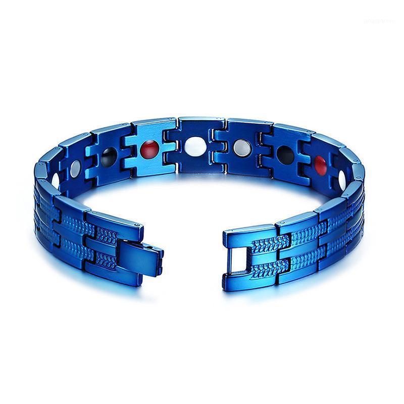 링크, 체인 블루 팔찌 남자 무거운 품질 멋진 손 에너지 건강 게르마늄 마그네틱 스테인레스 스틸 팔찌 1