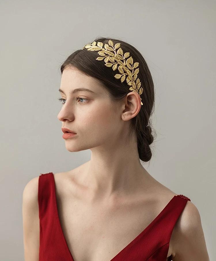 Bridal Hair pettine pettine dea foglia d'ulivo filiale fascia corona corona copricapo sposa sposa gioielli per fascia da sposa.