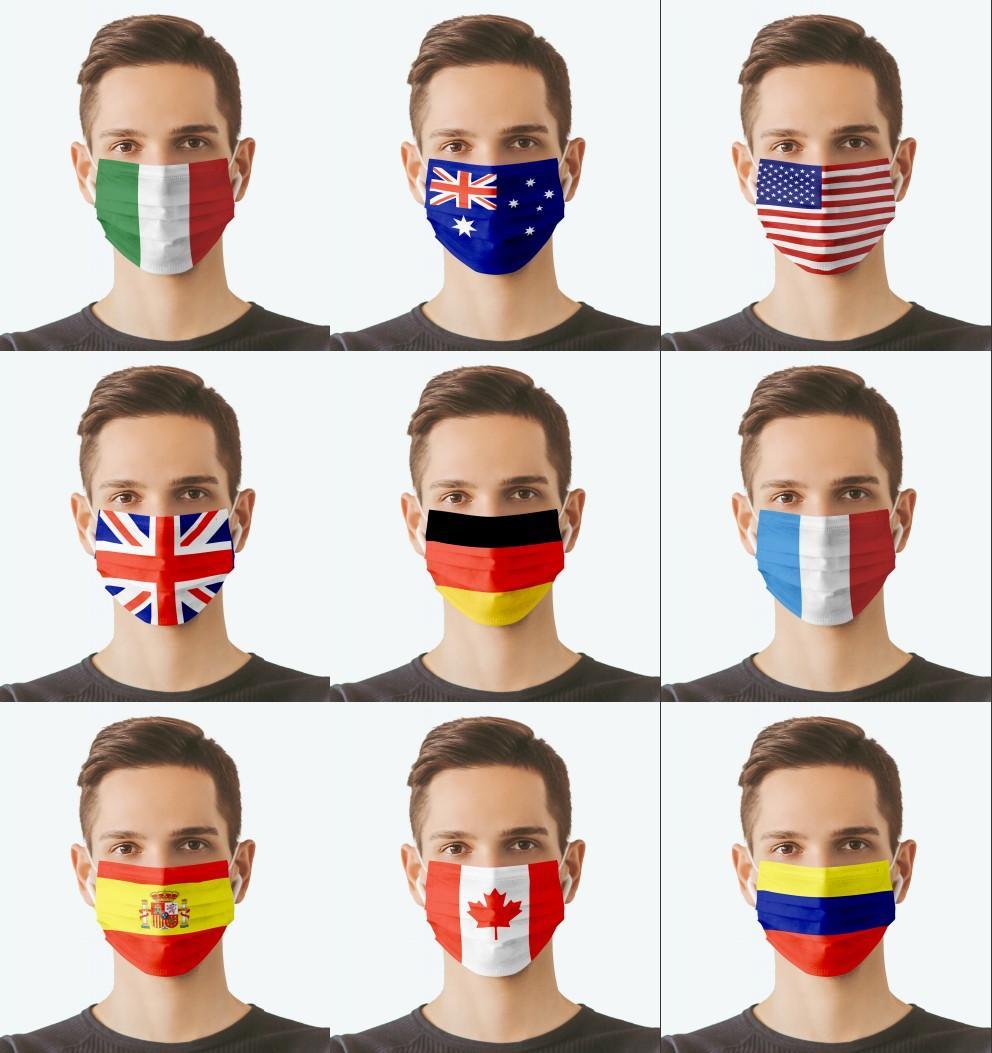 2021 Máscaras de la bandera más reciente 3 capas Lavable RESUBIDA PERSONALIZACIÓN POR POLVO APROXIMADA CUBIERTA DE LA BOCA DE LA BOCA DE LA BIENES DE LA BOTAS DEL DISEÑADOR Partido Christams Máscara