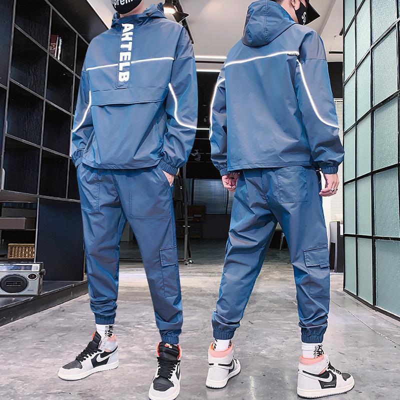 2020 Recuperar la nueva moda refleja el traje de entrenamiento con capucha Sweat 2 Delige Set Men Streetwear Jogger Trajes de jogger más Tamaño S-5XL