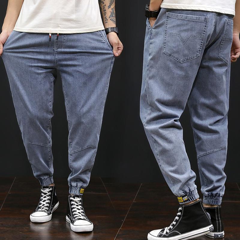 Männer Jeans Frühling und Sommer Plus Size Denim Elastische Taille Harem Hosen Lose Stretchhose Männer