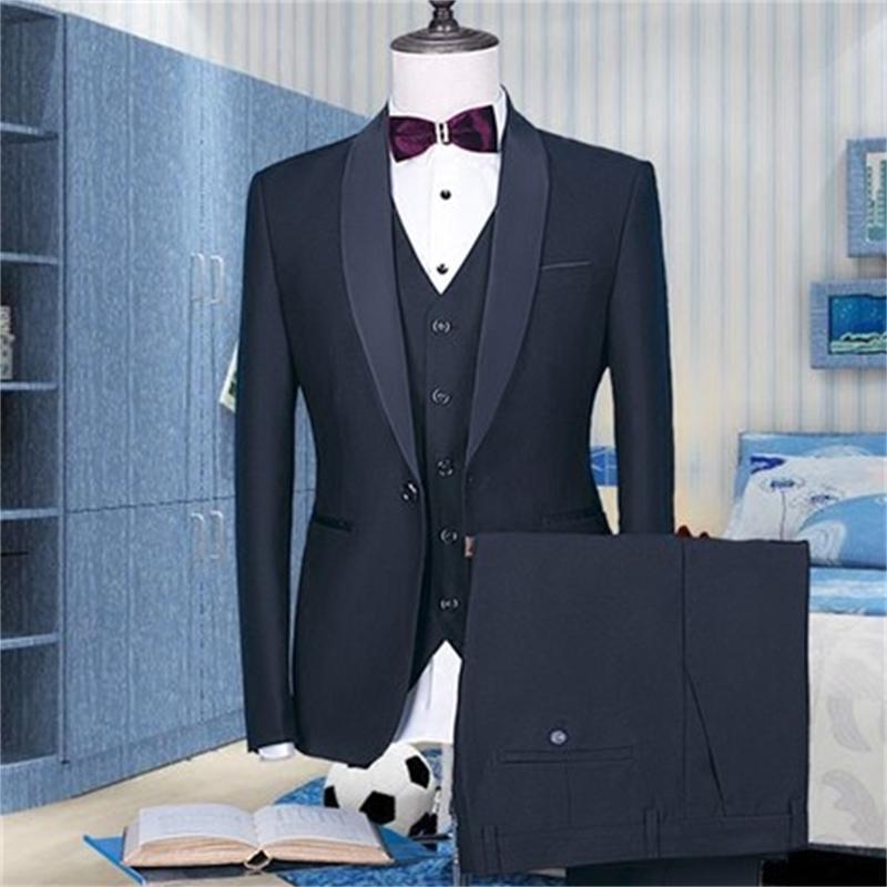 Yeni Siyah Blazer Groomsmen Suits Slim Fit Erkek Gelinlik Balo Akşam Yemeği Damat Smokin 3 Adet İşletme Takım Elbise