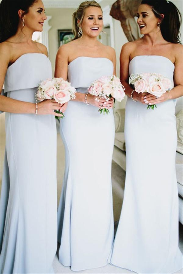 Doce arco traseiro vestido de dama de honra sexy strapless longa dama de honra vestidos para festa de casamento feitos sob encomenda