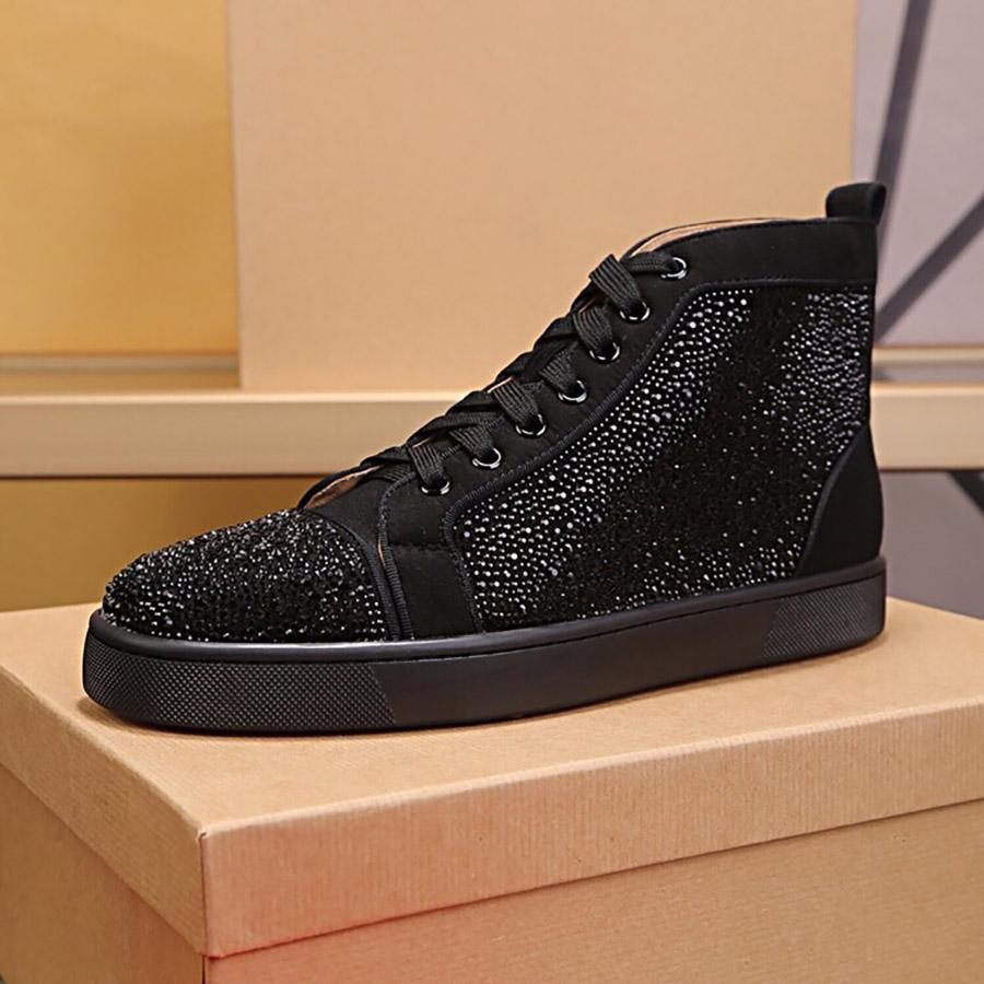 Мужские женские платформы Обувь сверкающие алмазные шипы Высокая верхняя середина черного красного белого дизайнера нижние кроссовки натуральная кожа модная повседневная обувь