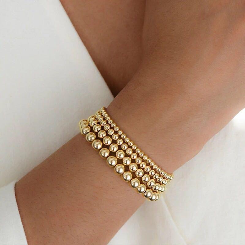 Pulsera con cuentas Pulsera Versátil Bead redondo Chapado en oro Estilo de playa Geométrico Elástico Retención