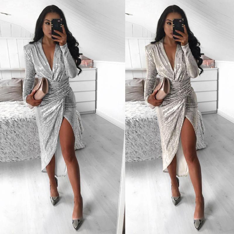 Повседневные платья Европейская и американский стиль для осенних зимних женщин V-образным вырезом с длинным рукавом блестящий ужин Sexy Bag Hip Split Plated платье