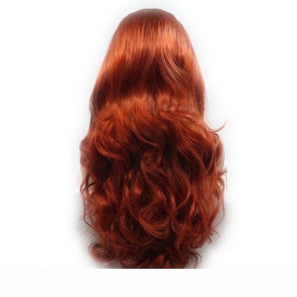 Ücretsiz Kargo natrual Dalgalı Peruk Sentetik Dantel Açık Peruk Bakır Kırmızı Renk Isı Kadınlar Yumuşak Dantel Cosplay Peruk için Dirençli Elyaf Saç