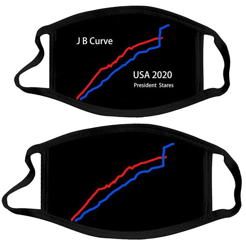 cara Presidencial EE.UU. Campaña máscara curva diseñador Gráfico de máscaras de tela Biden Trump Elección Una prueba de polvo