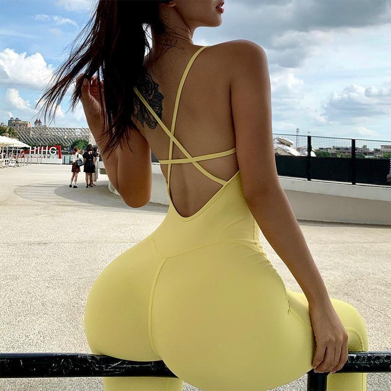 Femmes Active Yoga Combinaison de yoga Entraînement Vêtements Un PCS Sports Pantalons Sexy Backless Tracksuit Mujer Fitness Running Gym Femelle Set F12