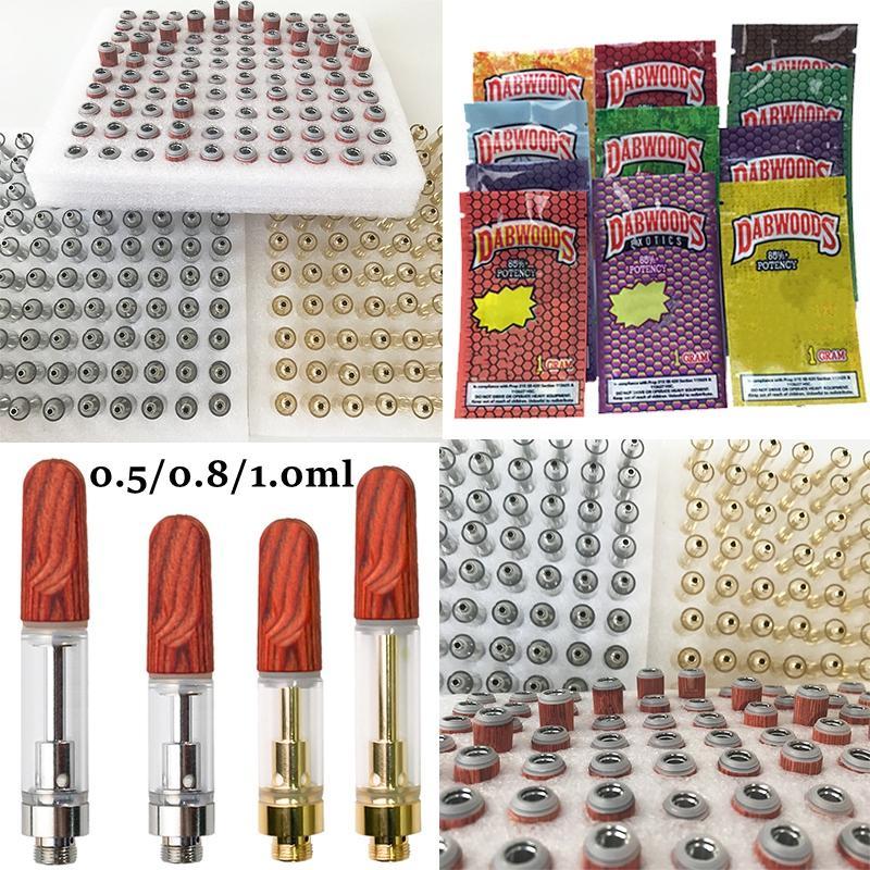Dabwoods Vape Cartridges TH205 Wooden Tips Childproof Zipper Bag Atomizers Empty Vapes Pen Ceramic Glass Dab Oil Carts Vaporizer 510 Thread Battery