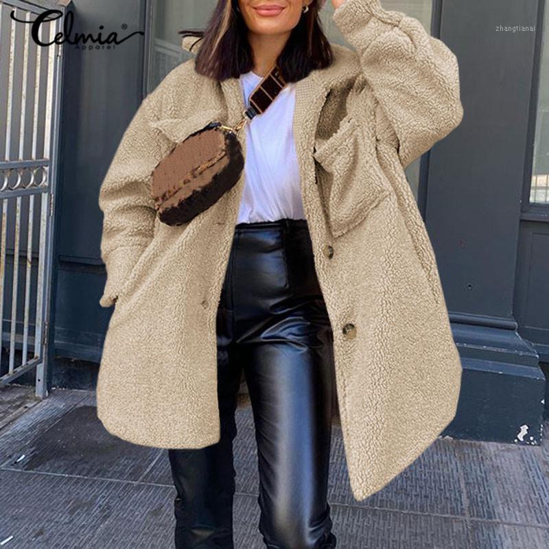 Celmia Vintage Plüsch Jacken Frauen Winter Warme Faux Pelzmäntel Langarm Oberbekleidung Taschen Teddy Overcoat Botton Street 5xl1