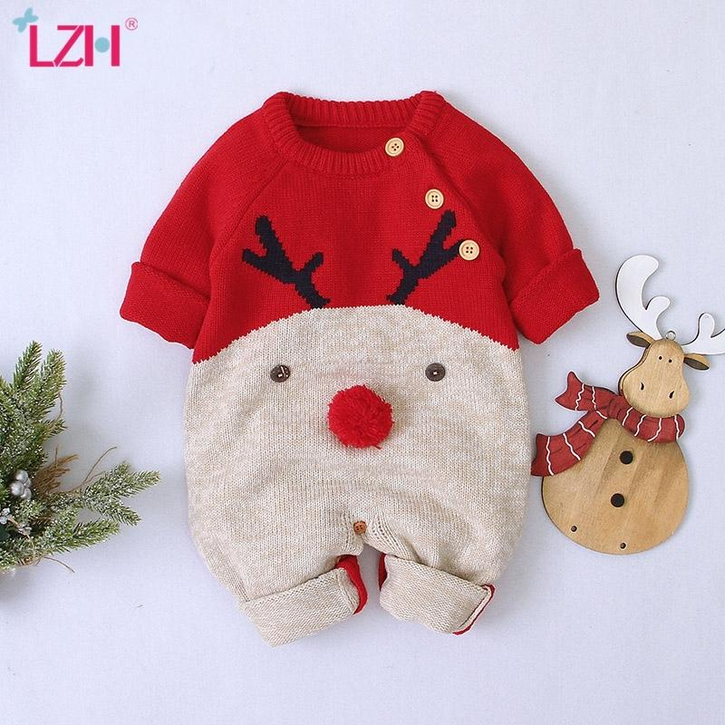 2020 Autumn Winter Newborn Clothes Christmas Sweater Rompers Baby Girls Boys Overalls Infant Costume Kids Toddler Jumpsuit