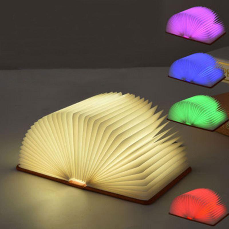 الإبداعية 5 تغيير اللون كتاب طوي أضواء الليل نوم السرير مصباح غرفة دراسة غرفة USB قابلة للشحن أدى ضوء كتاب