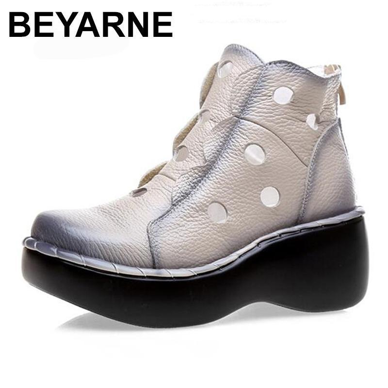 Beyarne Cómoda Cuero genuino Verano Mujer Sandalias Botas frescas 2020 Nuevas Sandalias de Cuñas Fondo Grueso Sandalias Mujeres Zapatos De Moda