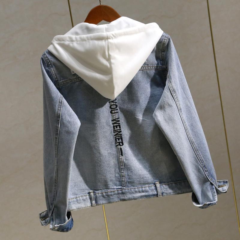 Applique embroidery denim jacket female autumn new Korean bf college wind hooded short denim jacket tide 201112