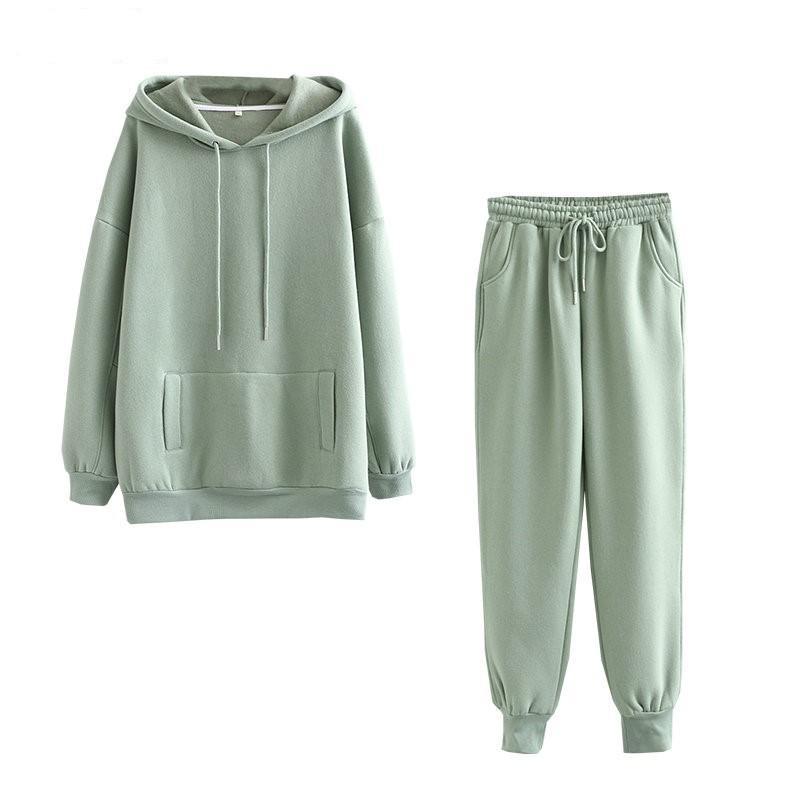 2020 herbst winter frauen hoodies dicke baumwolle sweatshirt 2 stücke setzt fleece trainingsanzüge für weibliche feste tops hosenanzug outfits