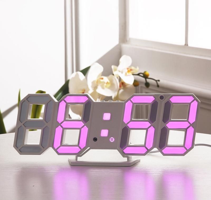 Diseño moderno 3D LED Reloj de pared moderno Digital Digital Relojes de alarma Mostrar sala de estar Oficina Mesa de mesa Noche Jllqmy Loveshop01