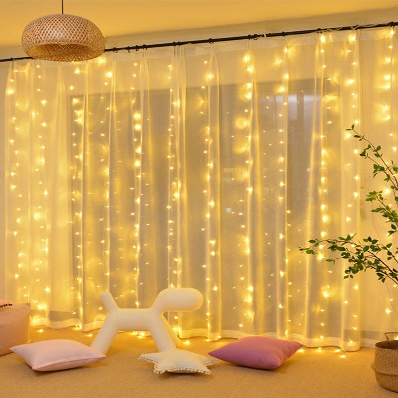 3 * 3M LED Fairy Light Christmas LED String Light 304 LED Lâmpada de Icicle Lâmpada de Cortina Interior para Casamento Festa Festa Decoração Garland