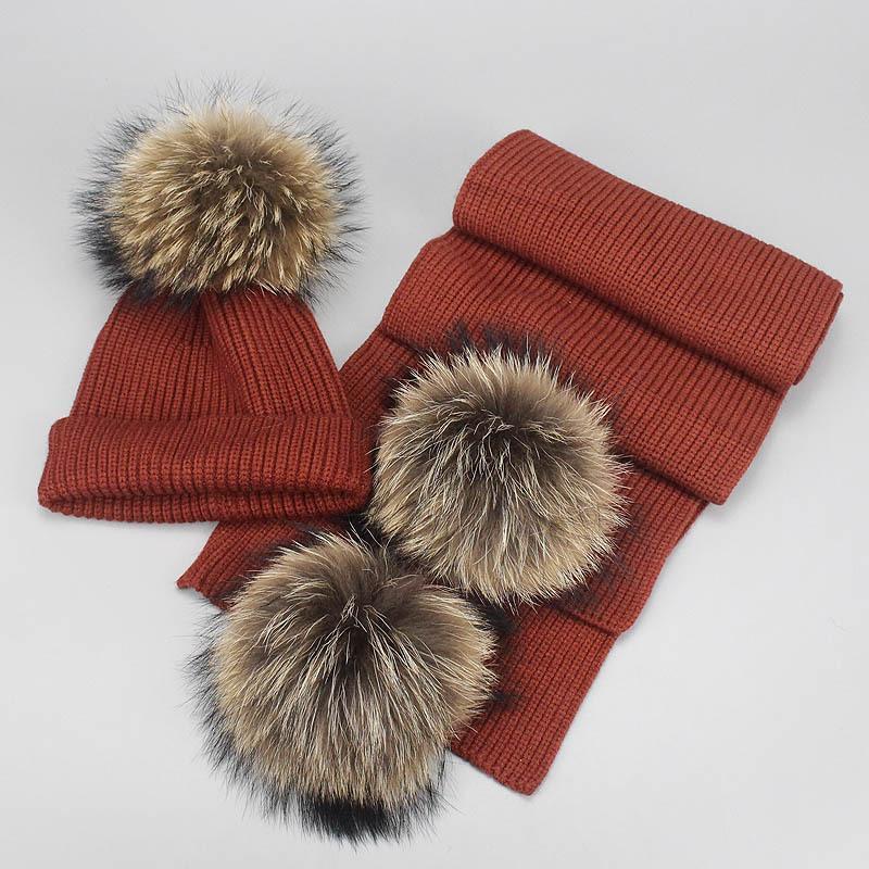 القبعات، والأوشحة قفازات مجموعات 2021 بوم قبعة الدافئة محبوك الفراء pompom قبعة وشاح مجموعة سيدة ريال الراكون الفتيات الشتاء skullies
