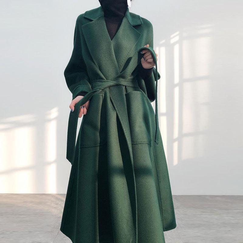 Novo casaco de lã duas vezes ondulado coreano no outono e inverno 2021