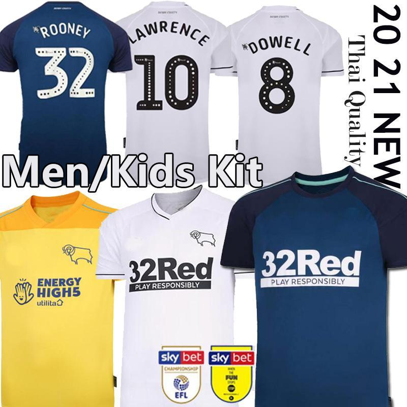 Rooney 20 21 Derby County Soccer Jerseys Home Away 2019 2020 Camisetas de fútbol Marriott Lawrence Waghorn Men Kit Kit Camicie da calcio