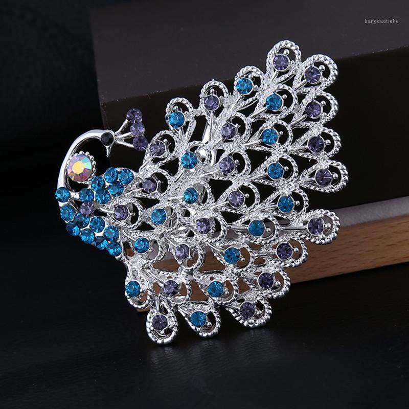 Rhinestone Peacock Брошь для женщины Purple8 / Blue / Blood Broom Brooch / для одежды / шляпа Аксессуары Корейский роскошный ювелирные изделия1