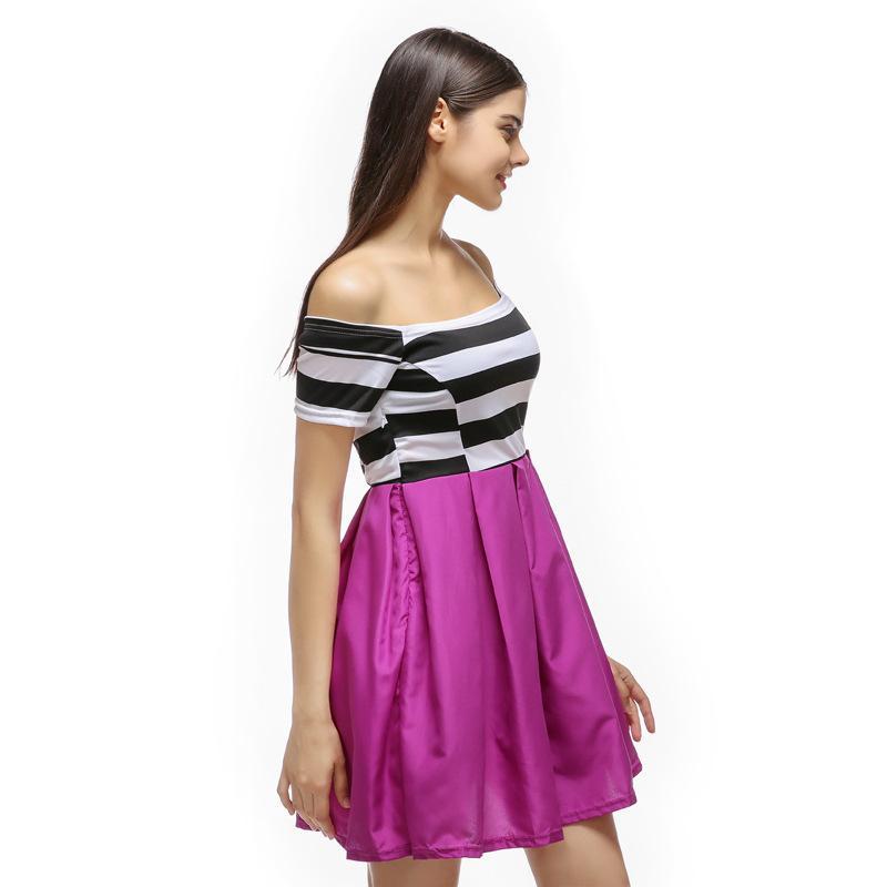 Siyah ve Beyaz Çizgili Elbise Seksi Omuz Straplez Elbise Renkli Dikiş