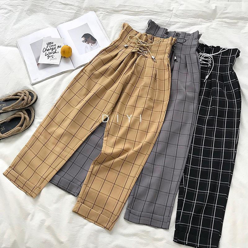 LMCavasun Fashion Lace Up Vintage Plaid Taille haute Taille Lâche Longueur de la cheville Pantalons Femmes 2019 Nouveau Japonais Harajuku Casual Harem Pants