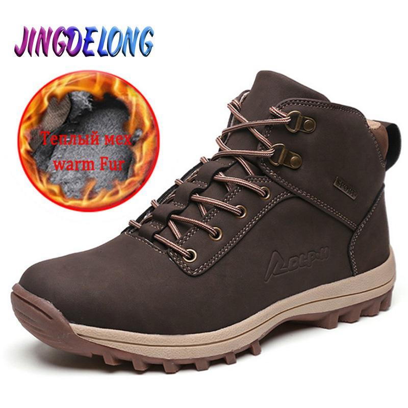 Зимние мужские ботинки классические мужские туфли водонепроницаемые мужские кроссовки бренд дизайнер мужские ботинки на лодыжку осенью мужчин мотоцикл ботинки 201126