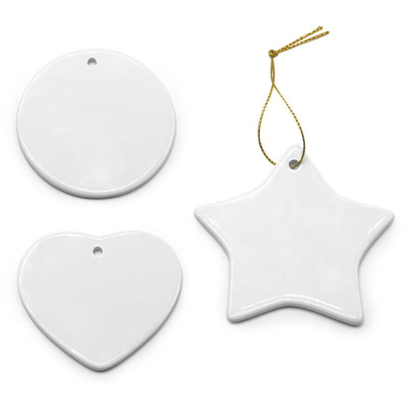 Blank White Sublimation Ceramic Pendant Christmas Ornaments Heat Transfer Printing DIY Ceramic Ornament Heart Round Christmas Decor BED3208