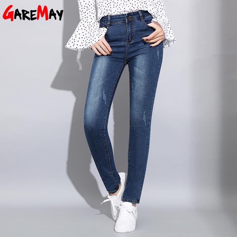 Garemay Mujeres Blue Jeans Stretch Classics Denim Pants Pantalones Mujer Mamá High Cintura Skinny Ladies Jeans Casualpor Women 201031