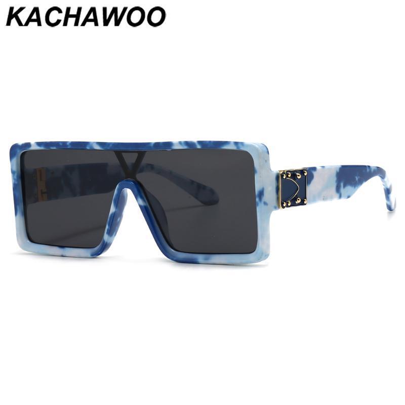 Kachawoo Oversized Square Sunglasses para mulheres uma peça lente homens acessórios de óculos impressão azul padrão quente verão uv400