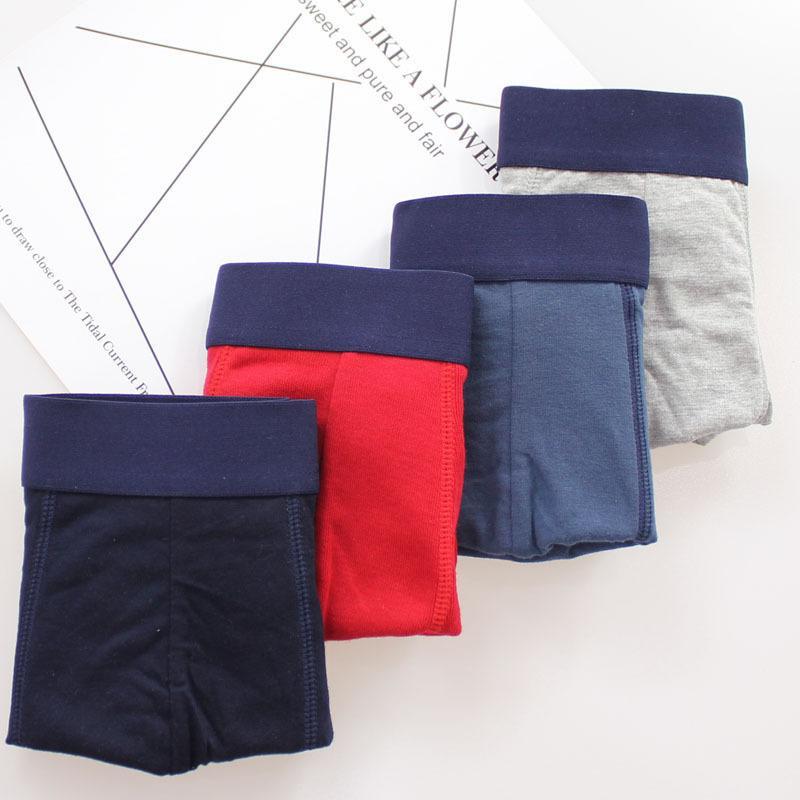Renye Fang Herren Unterwäsche gestrickte Boxer Hosen Reine Baumwolle Atmungsaktive Unterhosen Jugendboxer