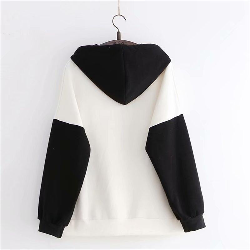 Юпунчиага женские толстовки с капюшоном осень зима с длинным рукавом Hit Color Femme Китайский стиль вышивки толстовки 201207